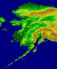 Topographic Map of Alaska. Click here for larger image.
