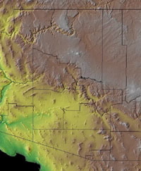 Topographic Map of Arizona