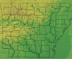 Topographic Map of Arkansas