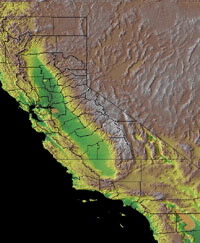 Topographic Map of California
