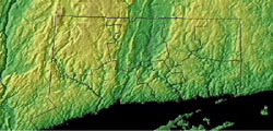 Topographic Map of Connecticut