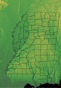 Topographic Map of Mississippi