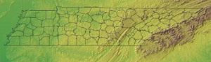 Topographic Map of Tennessee