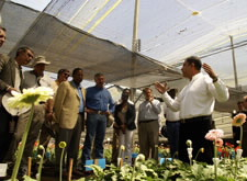 Gutierrez and Members of Congressional Delegation Learn About Flower Production in Colombia. Click here for larger image.