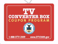 TV converter box coupon program logo with Web site, www.DTV2009.gov and phone number 1-888-DTV-2009 for consumers to access. Click to go to www.DTV2009.gov Web site.
